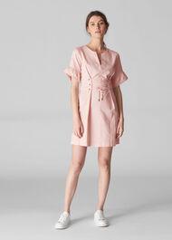 Mila Lace Up Waist Dress Pale Pink
