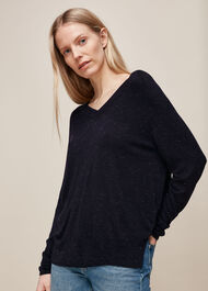 Annie Sparkle V Neck Knit Navy