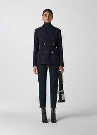 Belted Double Breasted Blazer Navy