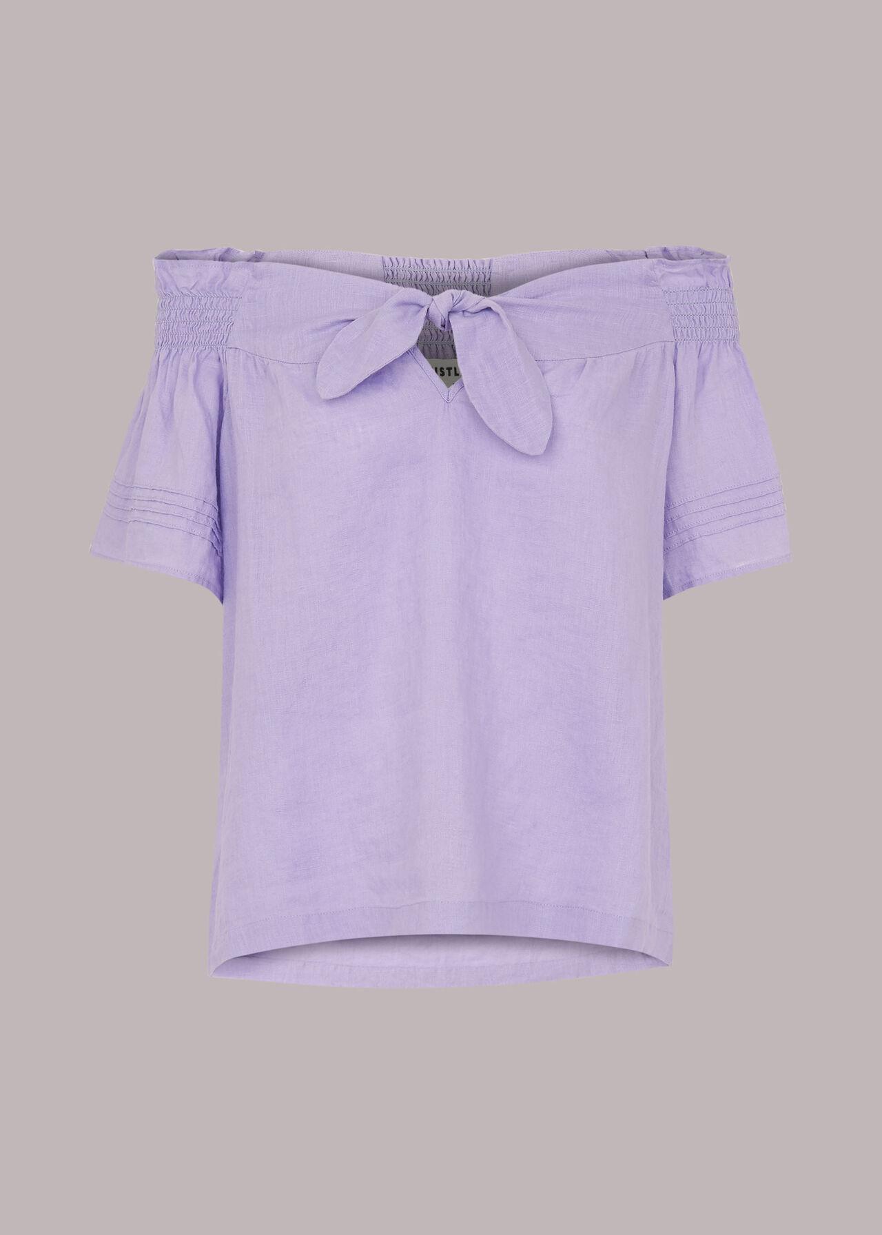 Tie Front Bardot Linen Top Lilac