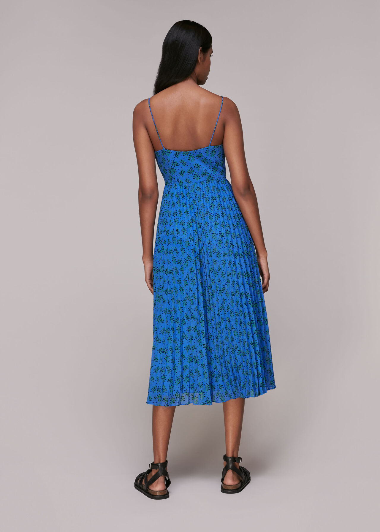 Kinetic Strappy Pleated Dress
