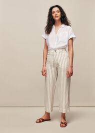 Linen Stripe Trouser White/Multi