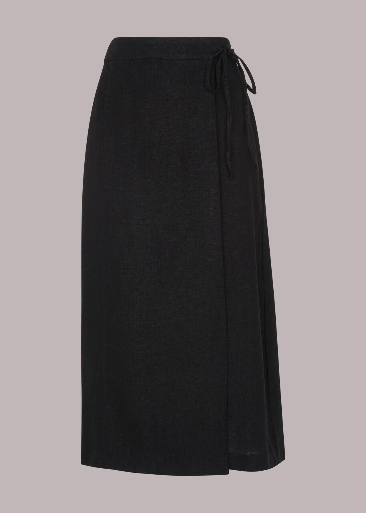 Wrap Detail Linen Skirt