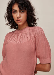 Bell Sleeve Cable Knit Pale Pink