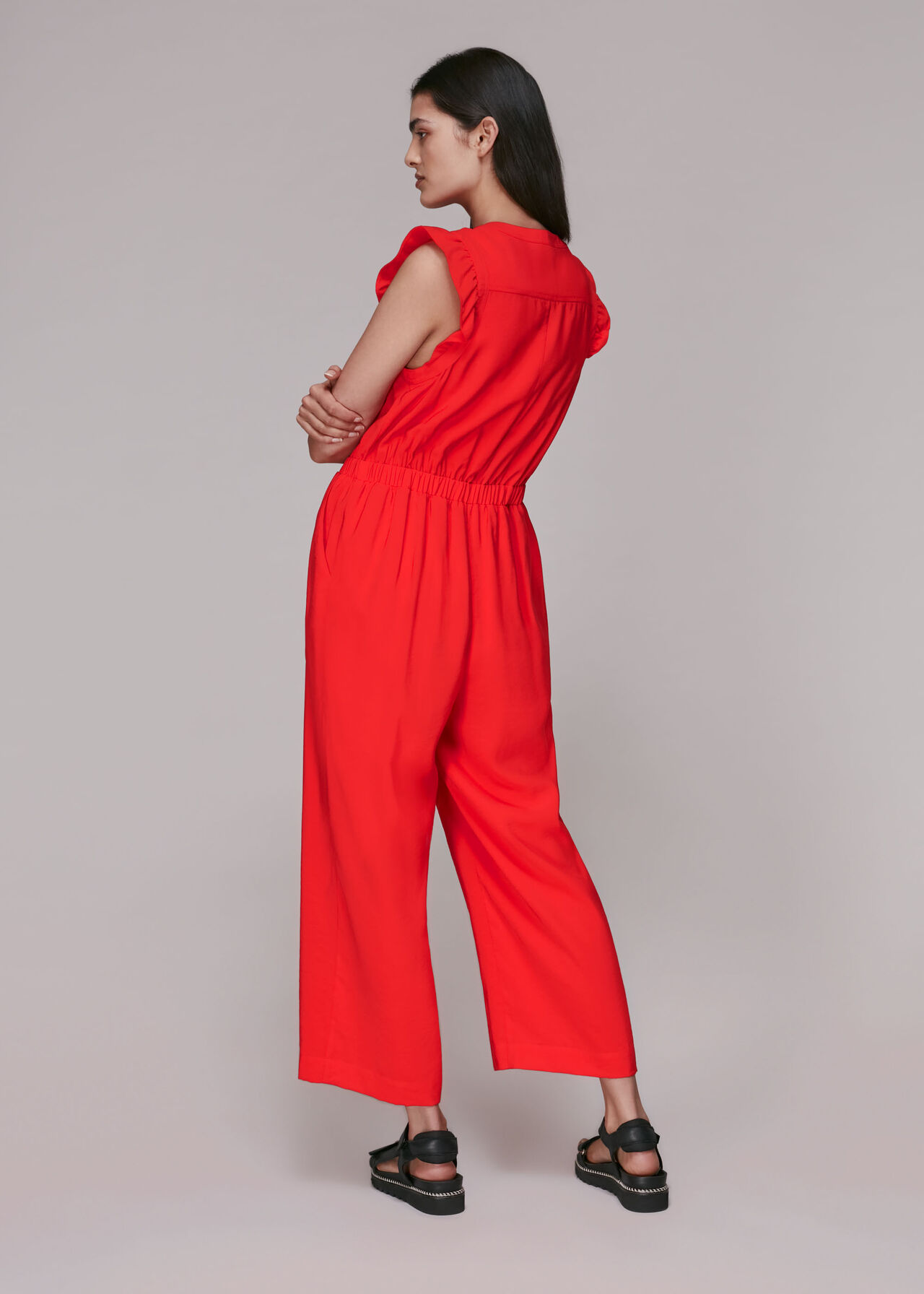 Frill Sleeve Button Jumpsuit