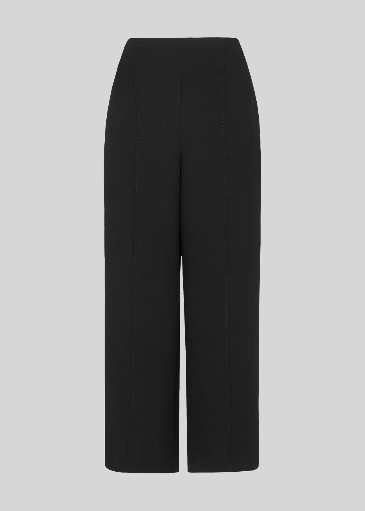 Flat Front Crop Trouser Black