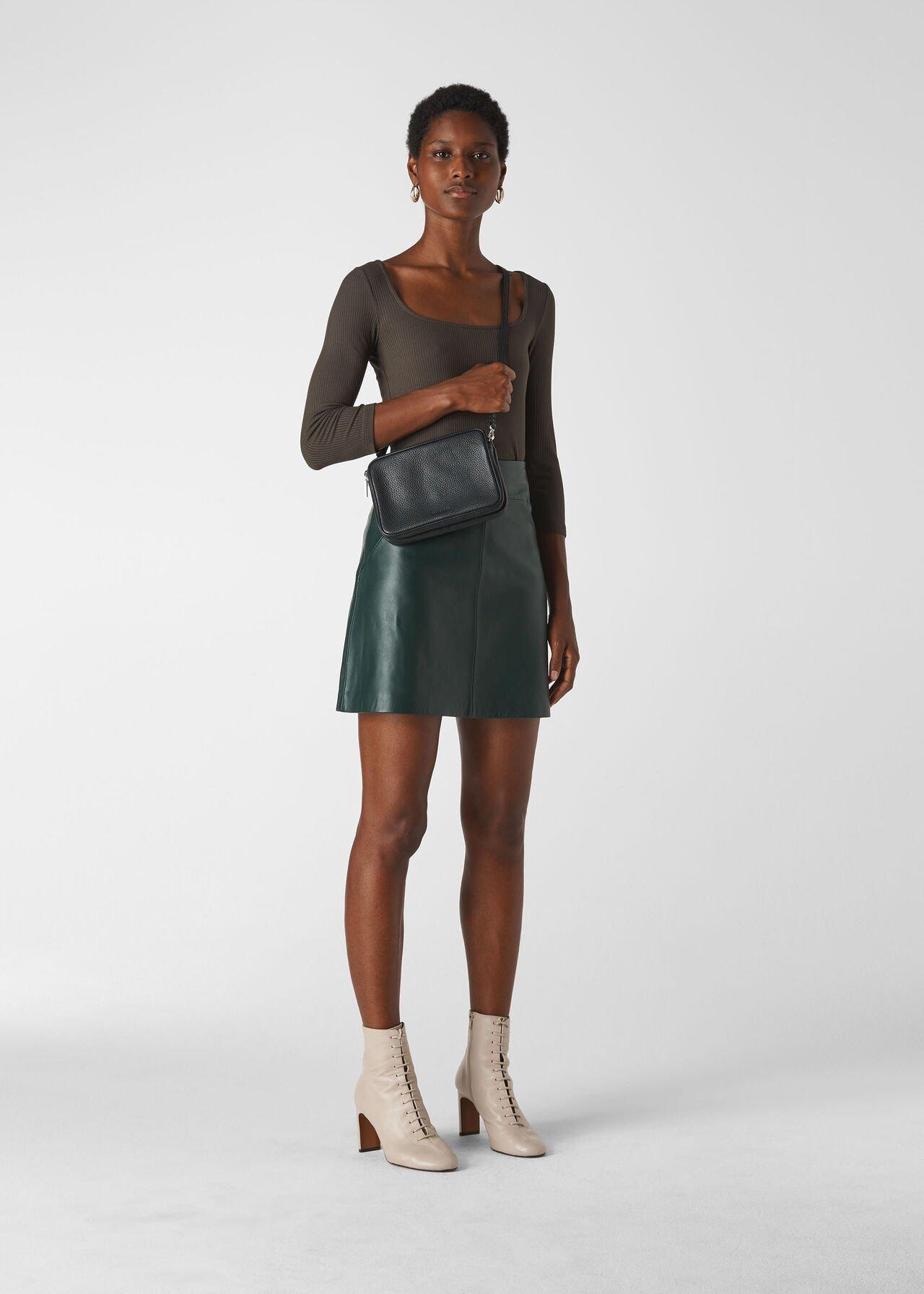 Leather A line Skirt Dark Green