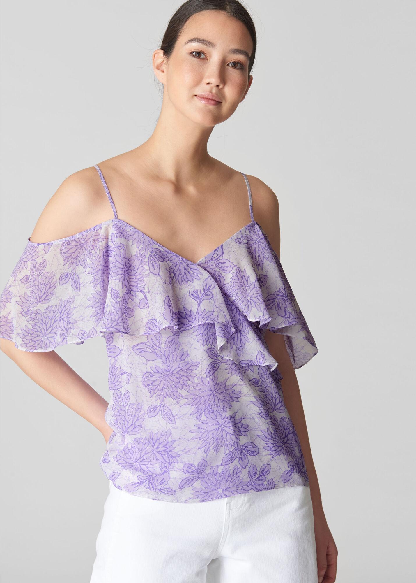 Batik Lily Print Frill Top