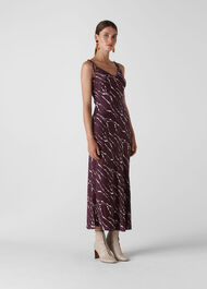 Dagma Twig Print Slip Dress Burgundy
