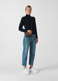 Puff Sleeve Roll Neck Knit Navy