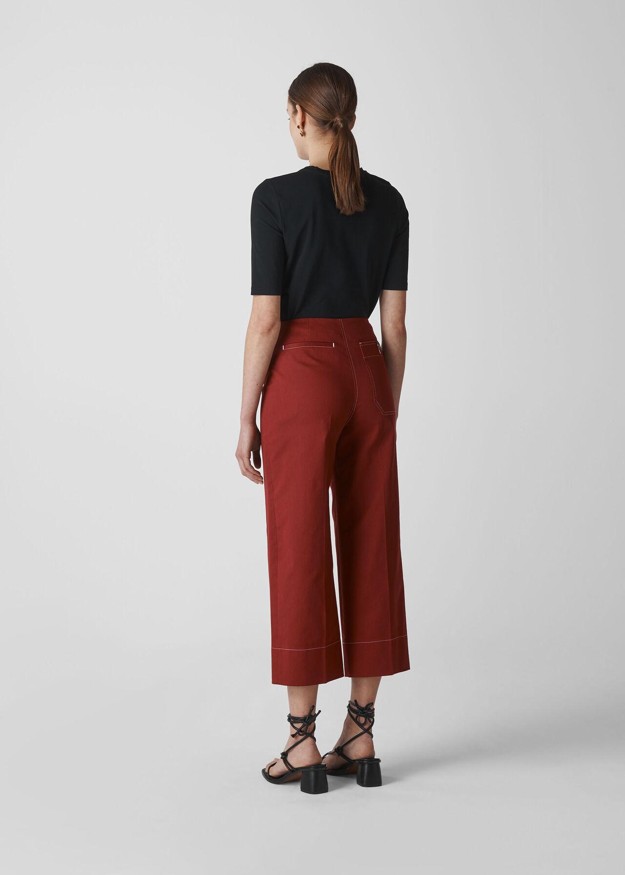 Heidi Button Front Trouser Rust