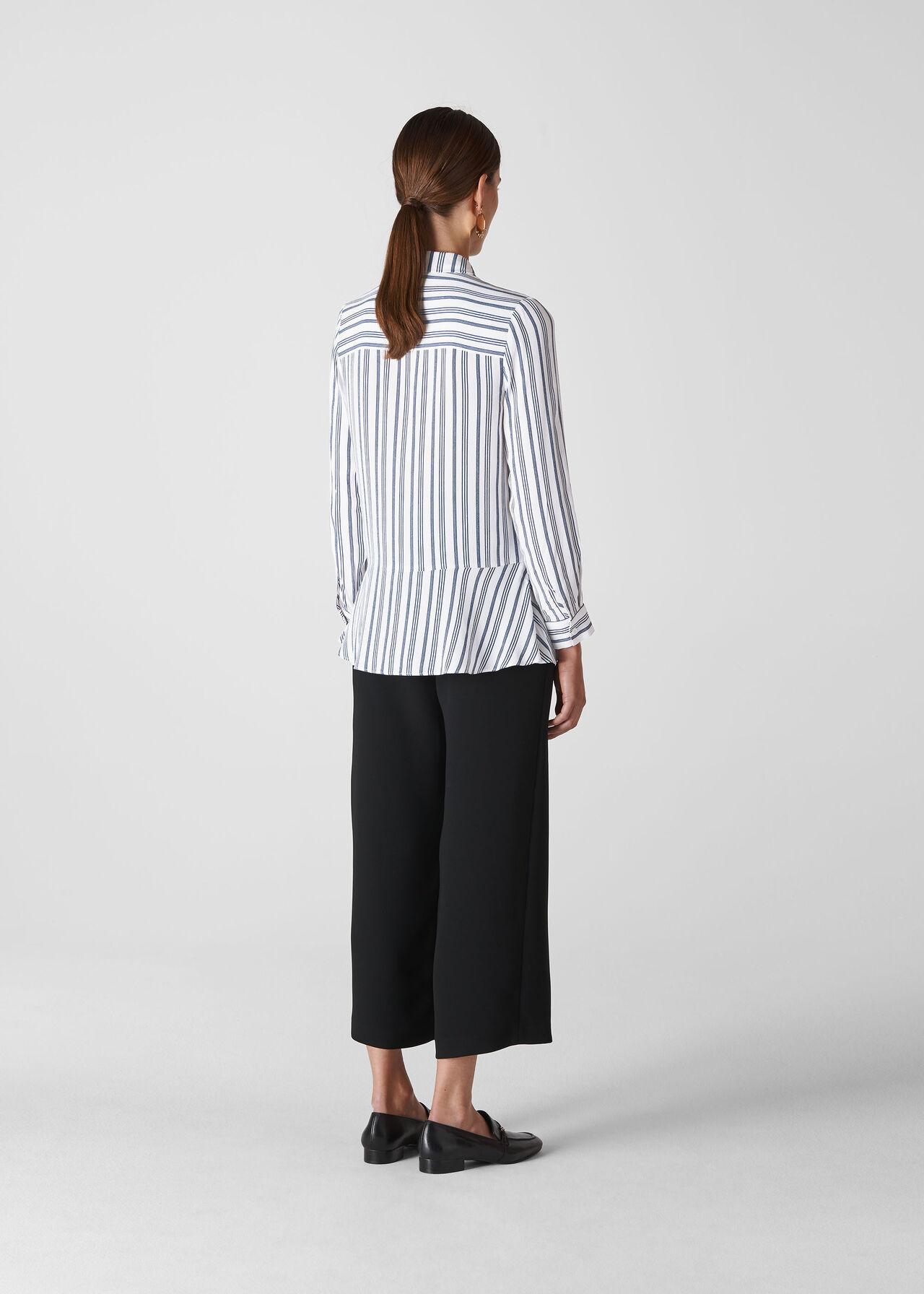 Stripe Frill Front Shirt White/Multi