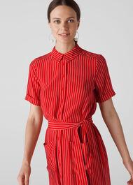 Montana Stripe Shirt Dress Red/Multi