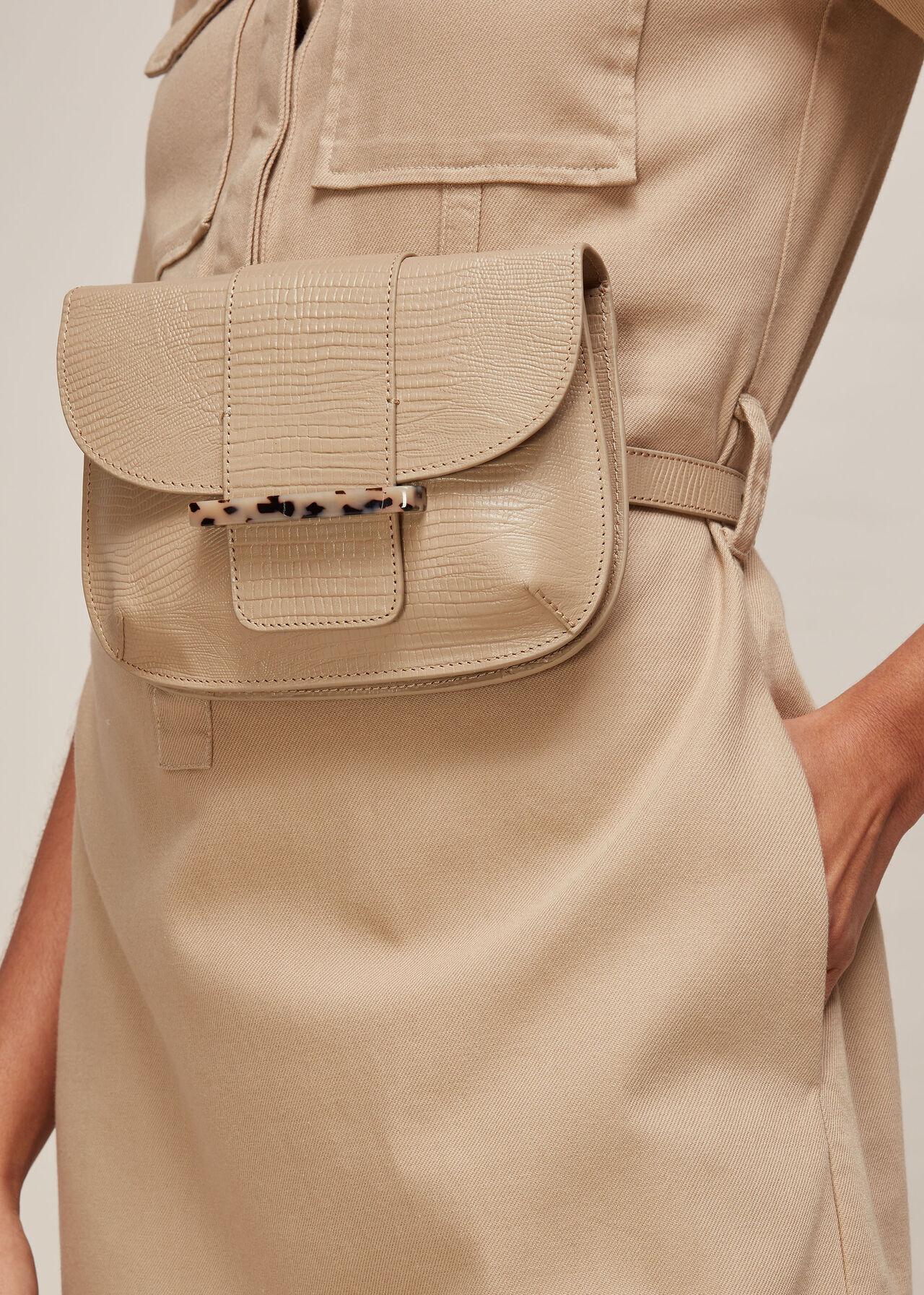 Mari Lizard Belt Bag Taupe