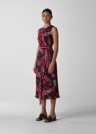 Scarf Print Wrap Dress Multicolour