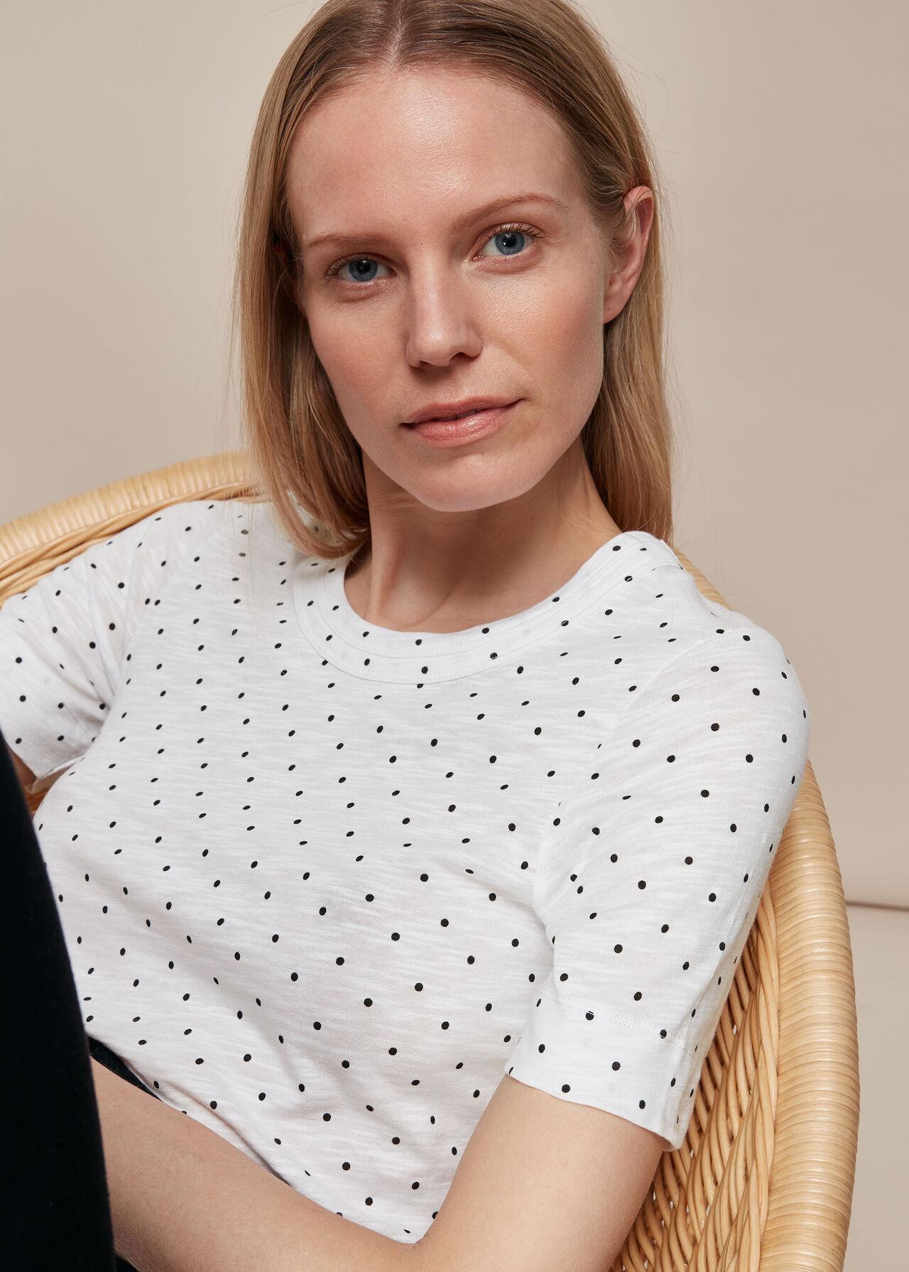 Rosa Double Trim Spot T-Shirt White/Multi
