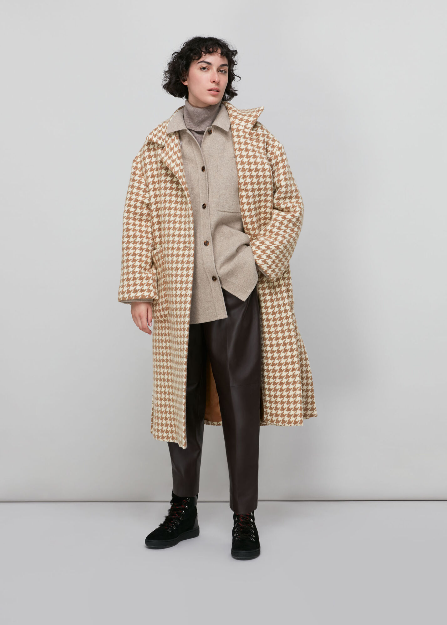 Dogstooth Funnel Neck Coat