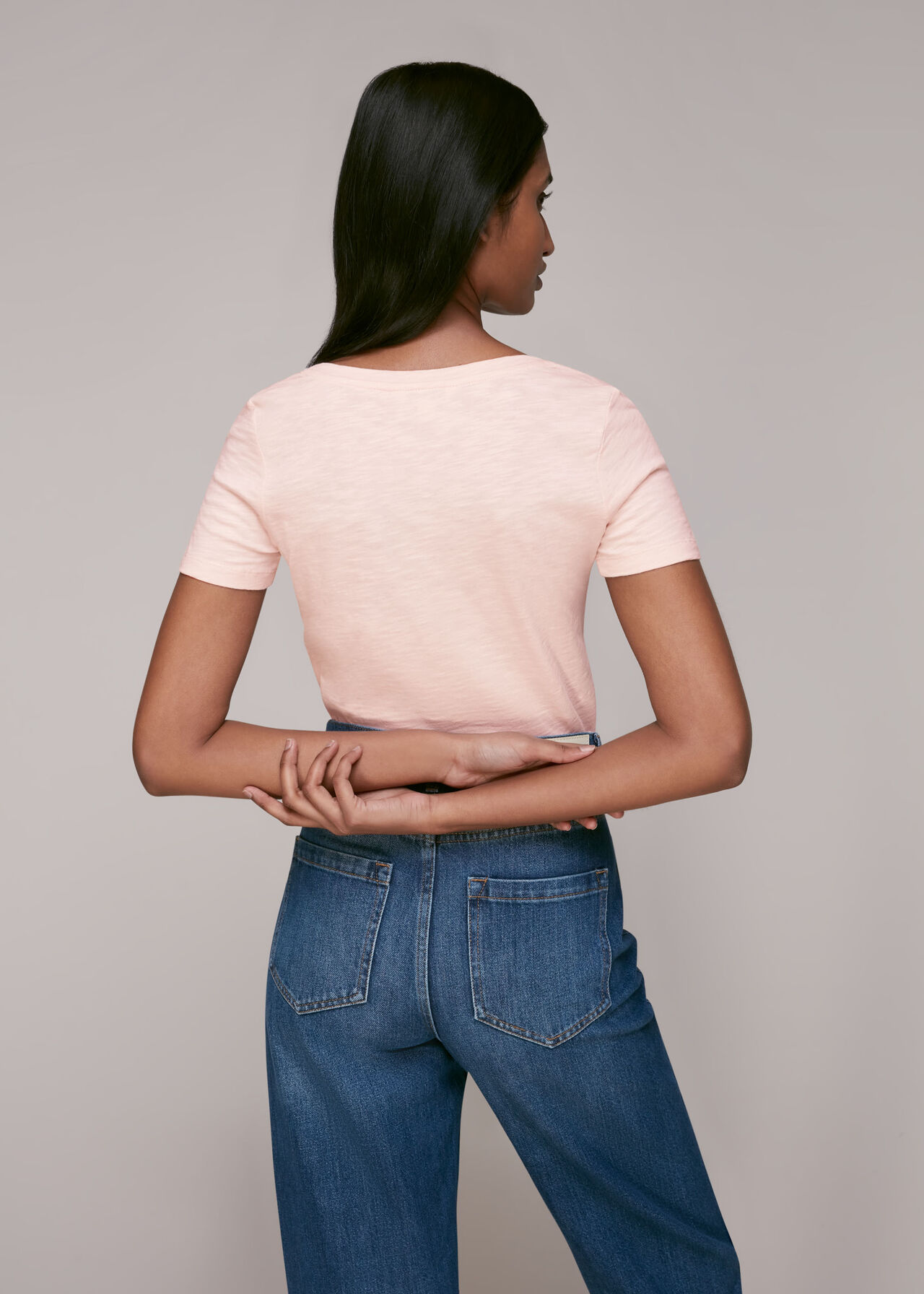 Sophie V Neck Cotton Tshirt Pale Pink