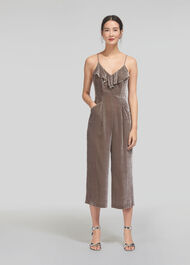 Florence Velvet Jumpsuit Silver