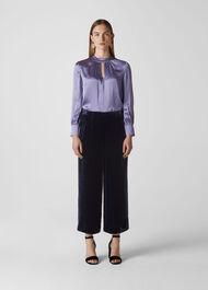 Velvet Silk Mix Trouser Purple