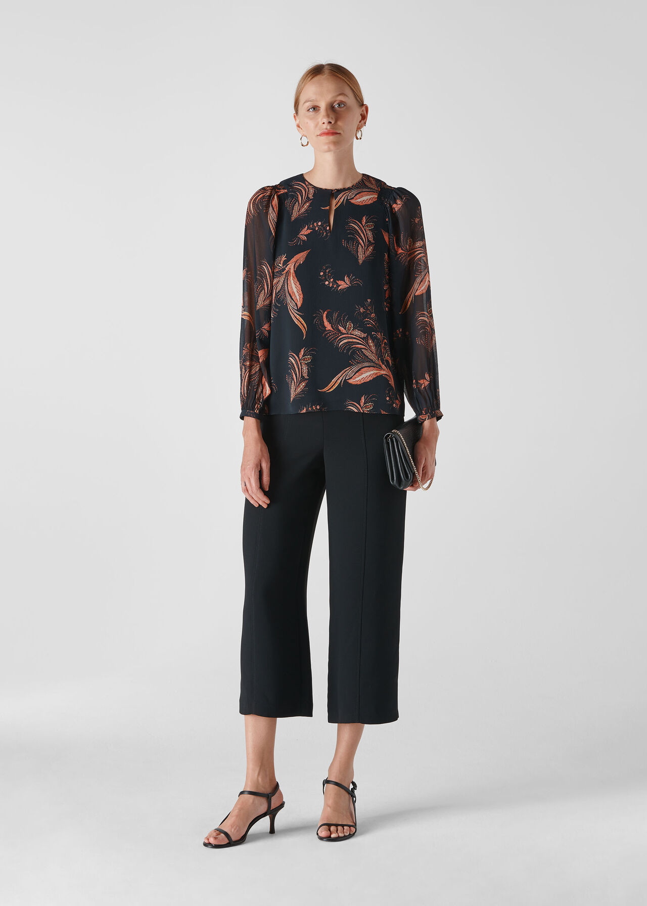 Paisley Leaf Print Blouse Black/Multi