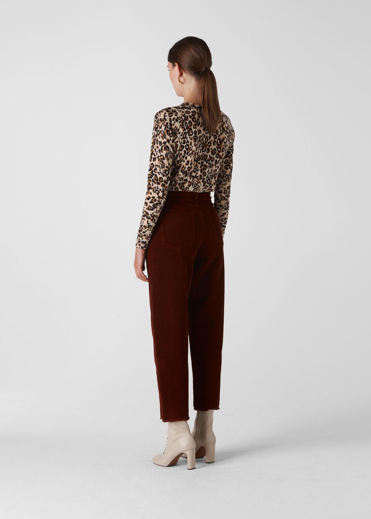 Leopard Print Crew Neck Knit Leopard Print