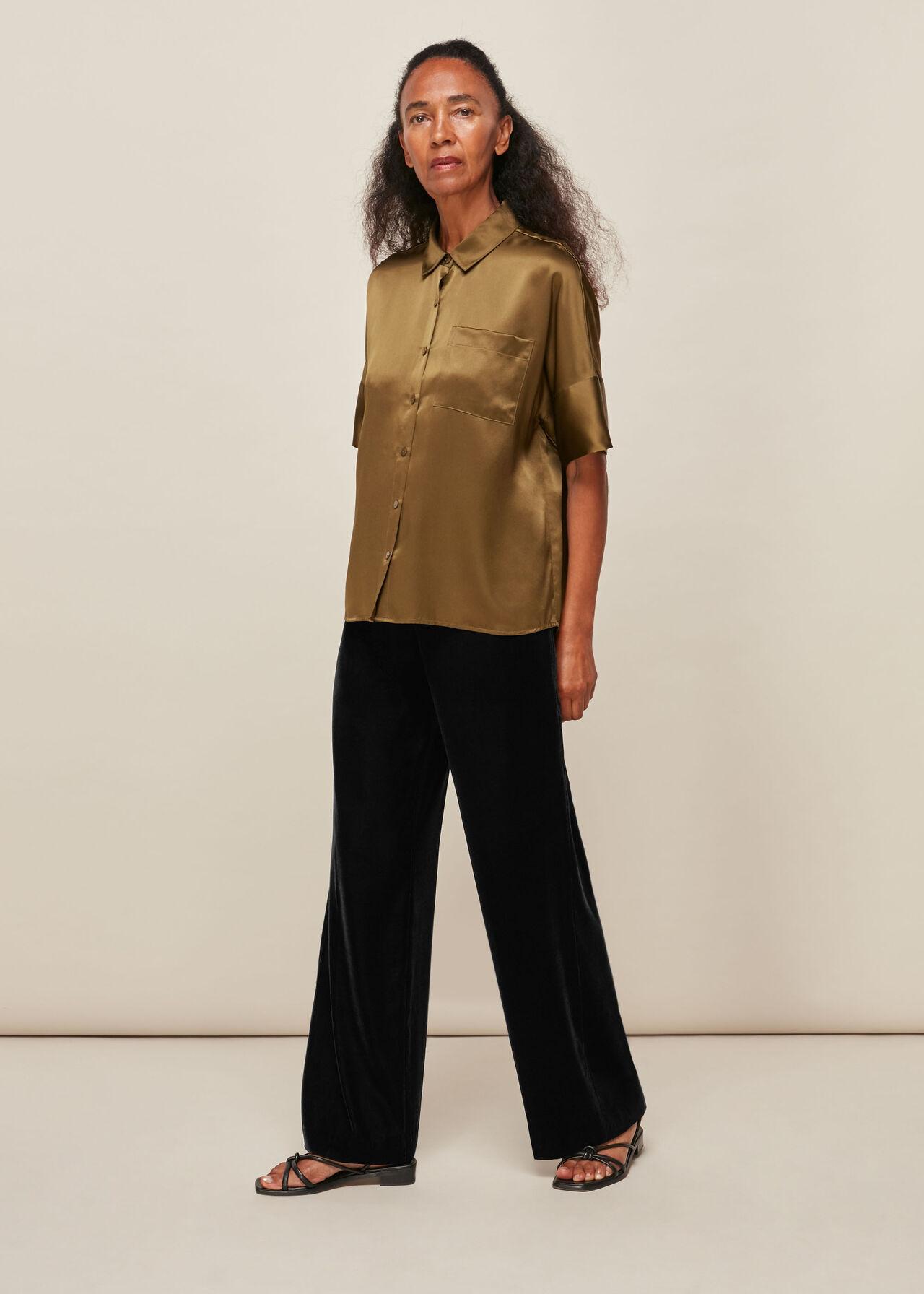 Side Button Velvet Trouser