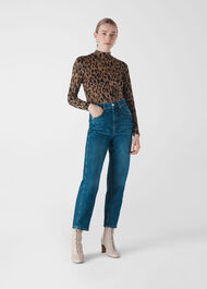 High Neck Animal Jaquard Top Leopard Print