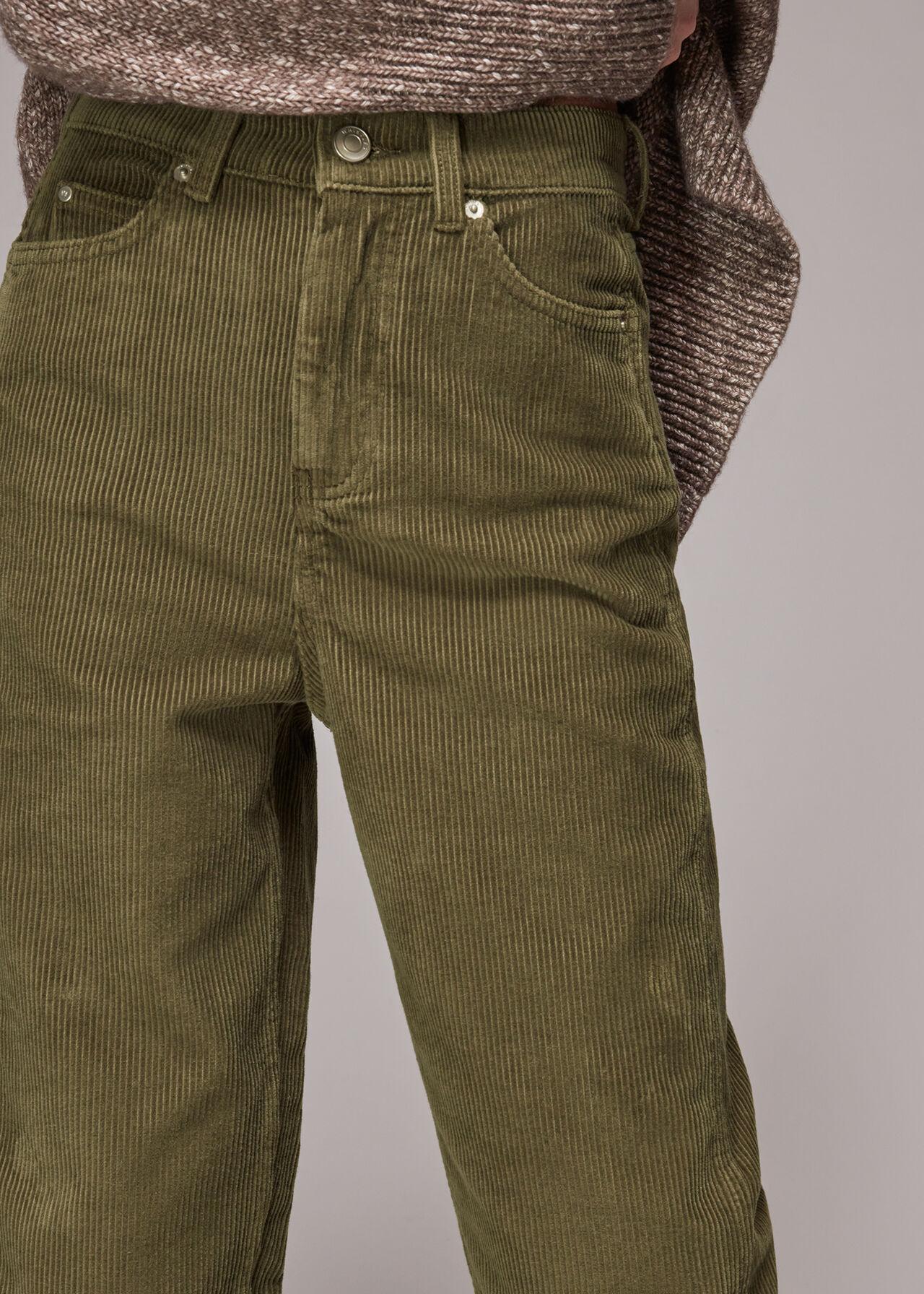 High Waist Cord Barrel Jean