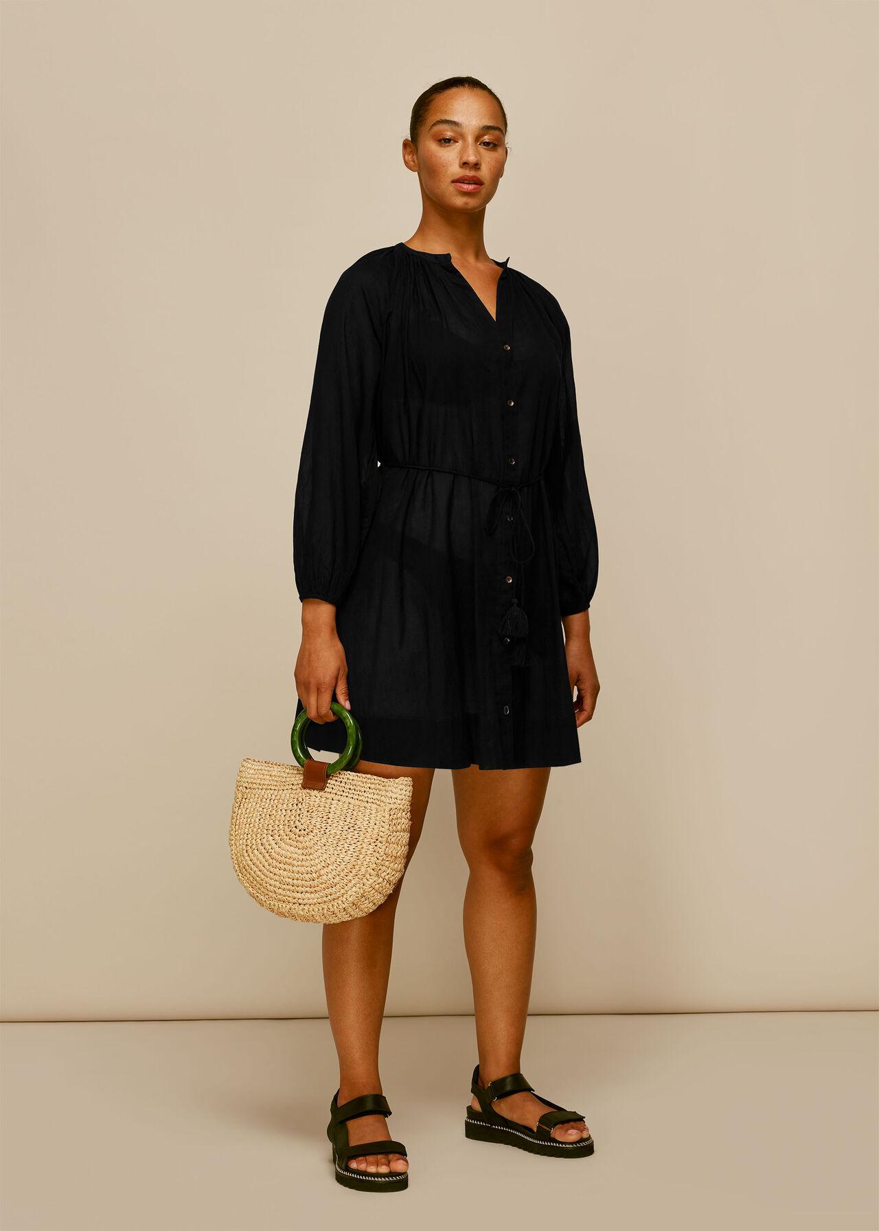 Button Up Beach Dress Black