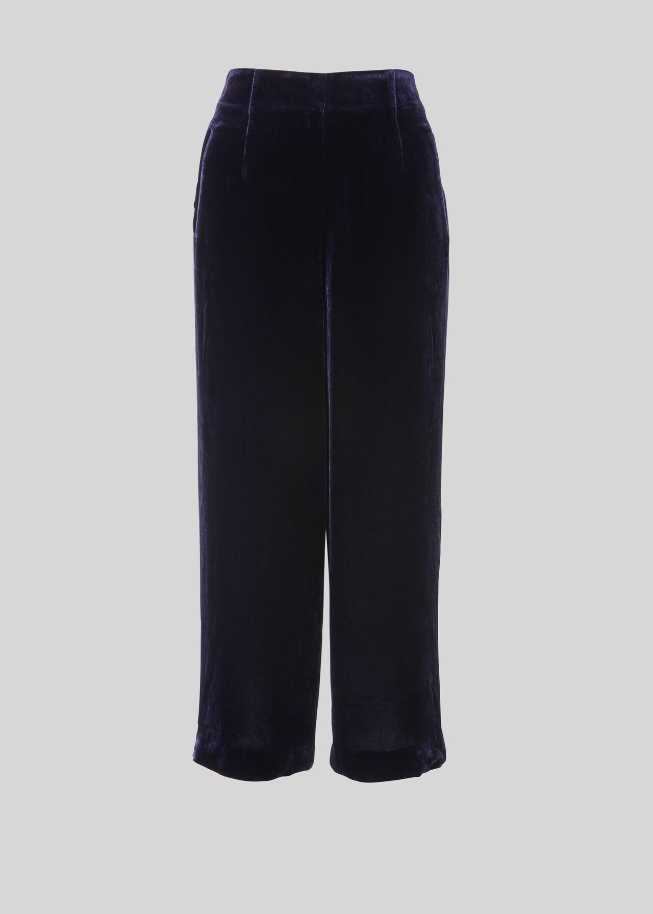 Velvet Silk Mix Trouser Purple