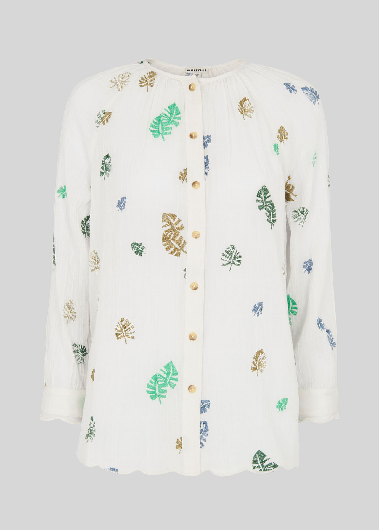 Cheeseplant Embroidered Shirt White/Multi