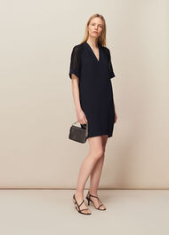 Lina Animal Dobby Dress Navy
