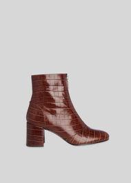 Rowan Croc Zip Front Boot Brown