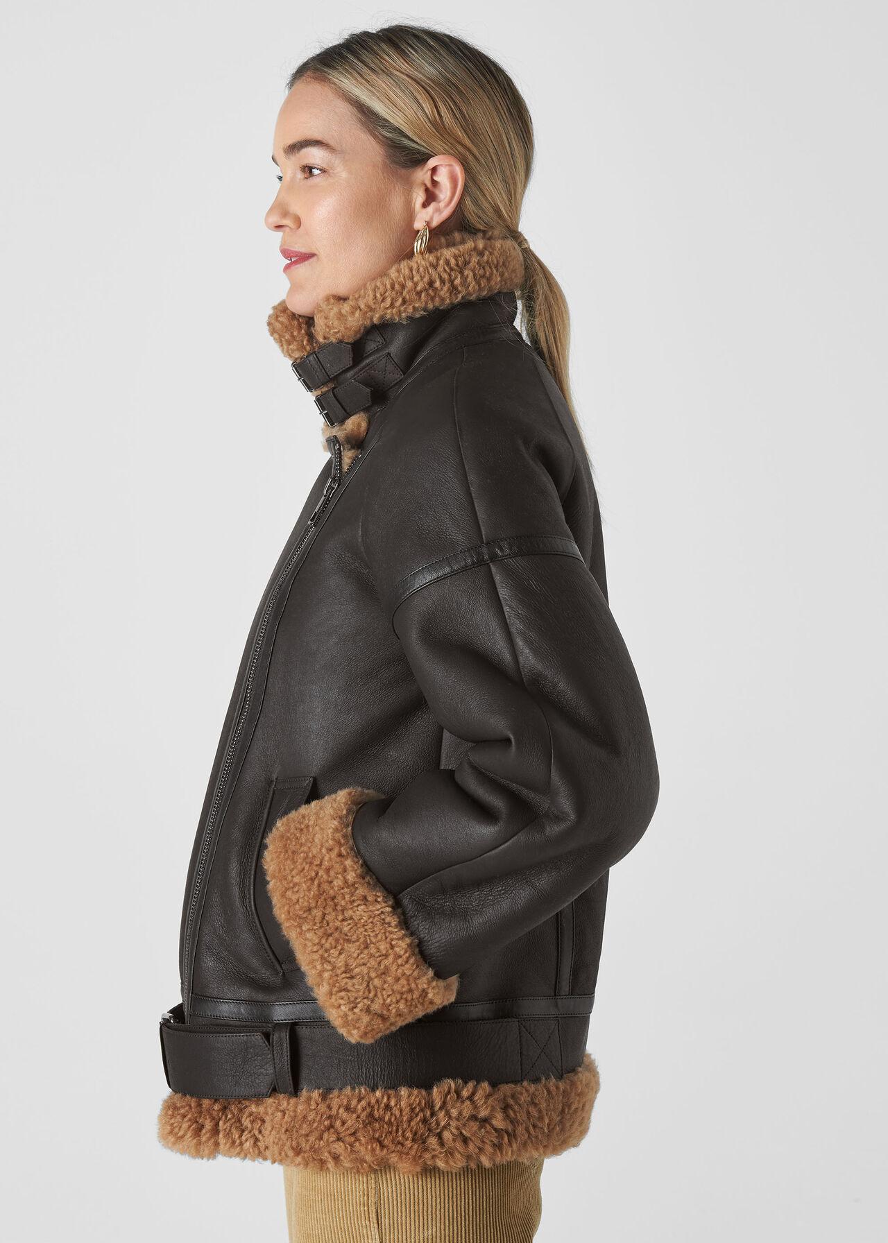 Shearling Brooke Biker Jacket Black