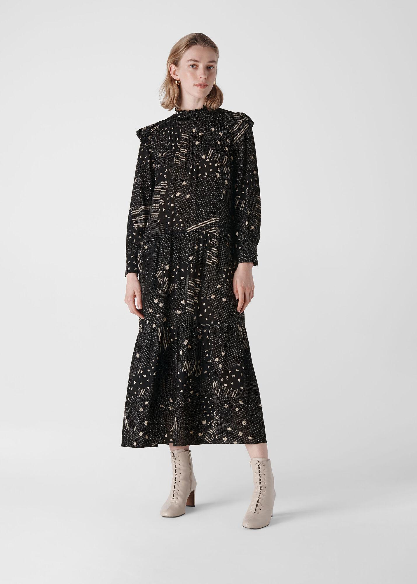 Ona Patchwork Print Dress