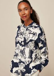 Stallion Print Silk Shirt