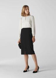 Anna Split Front Skirt Black