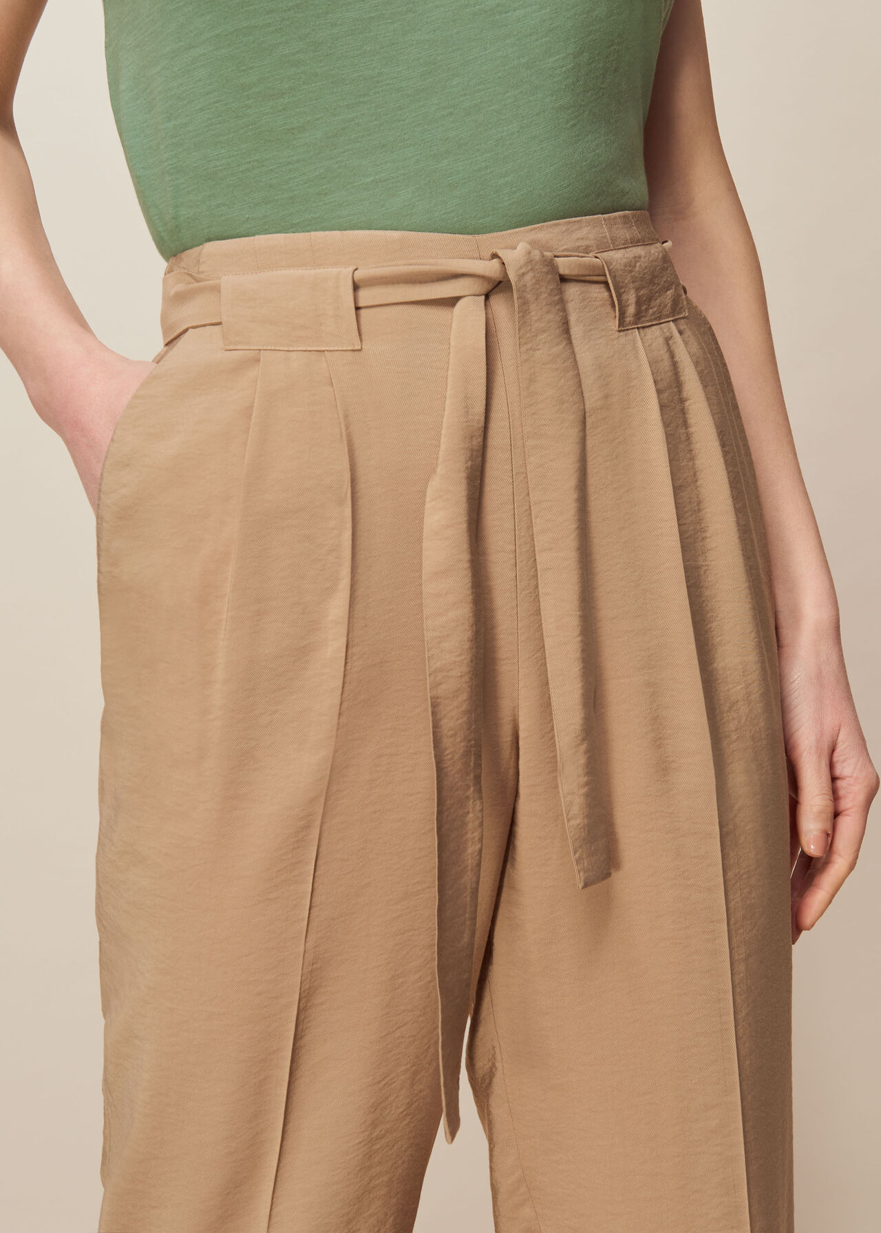 Belted Casual Crop Trouser