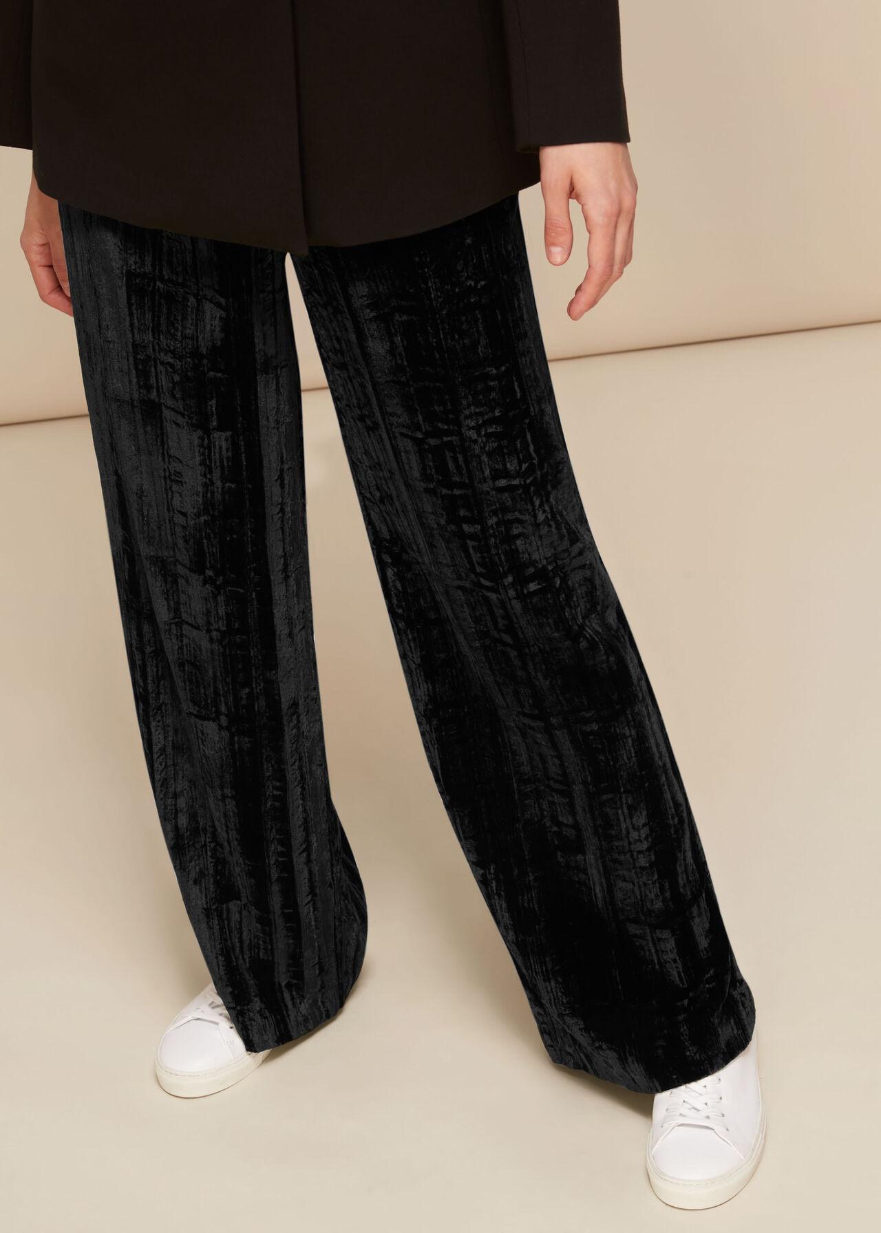 Crushed Velvet Trouser Black