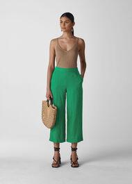 Linen Crop Wide Leg Green