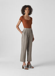 Lydia Linen Pleated Trouser Grey