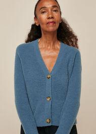 Rib Textured Wool Mix Cardigan