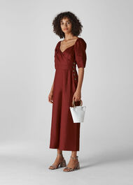 Eliza Linen Button Jumpsuit Wine