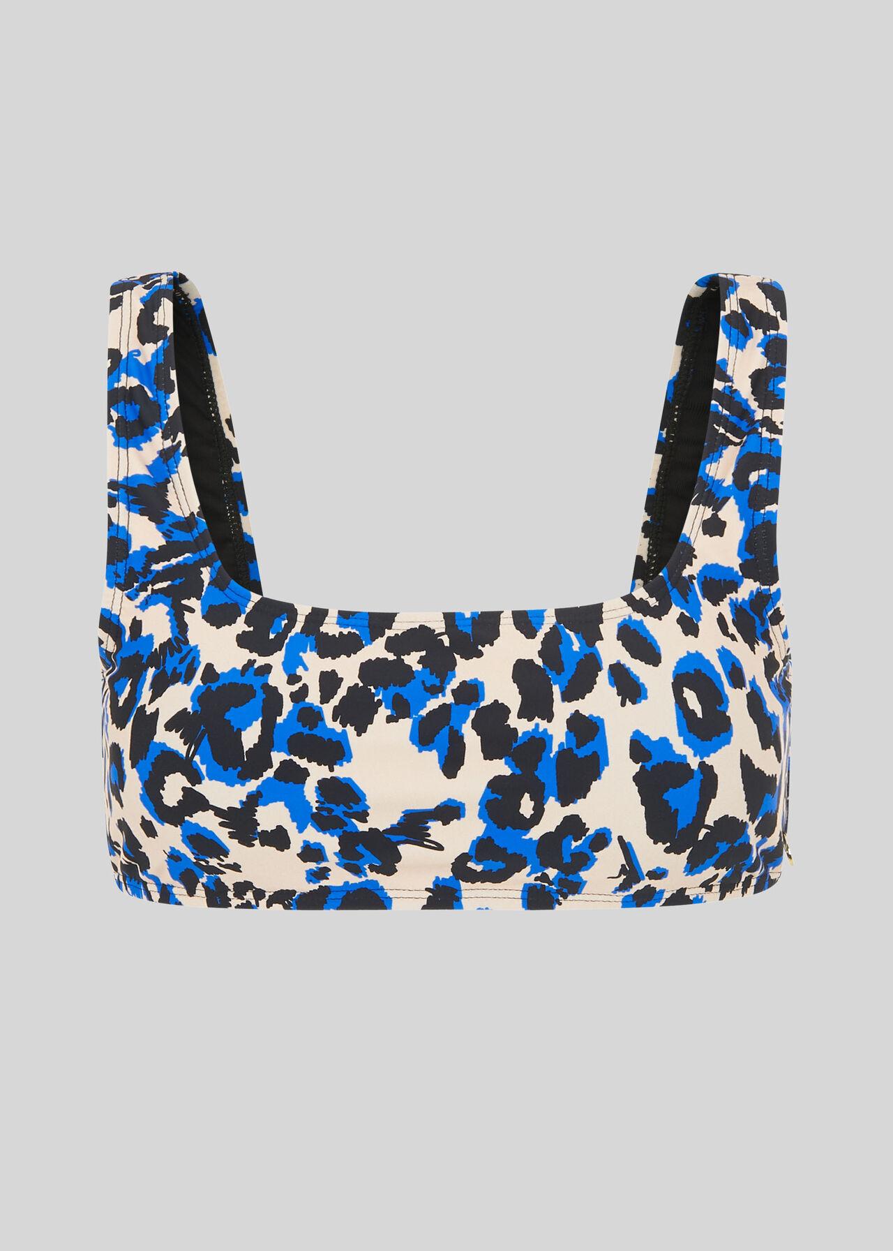 Animal Square Neck Bikini Top Blue/Multi