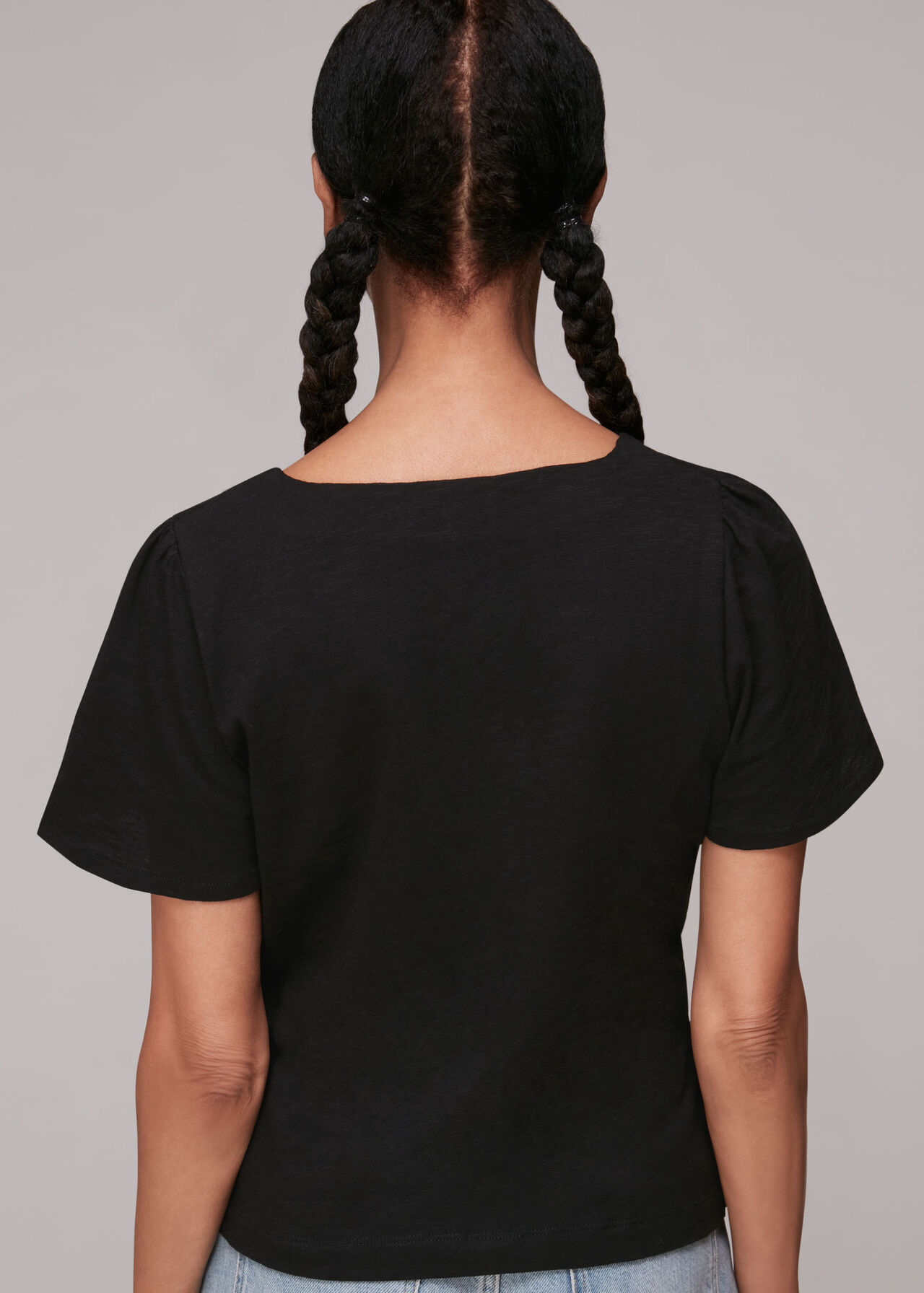 Button Front Frill Top Black