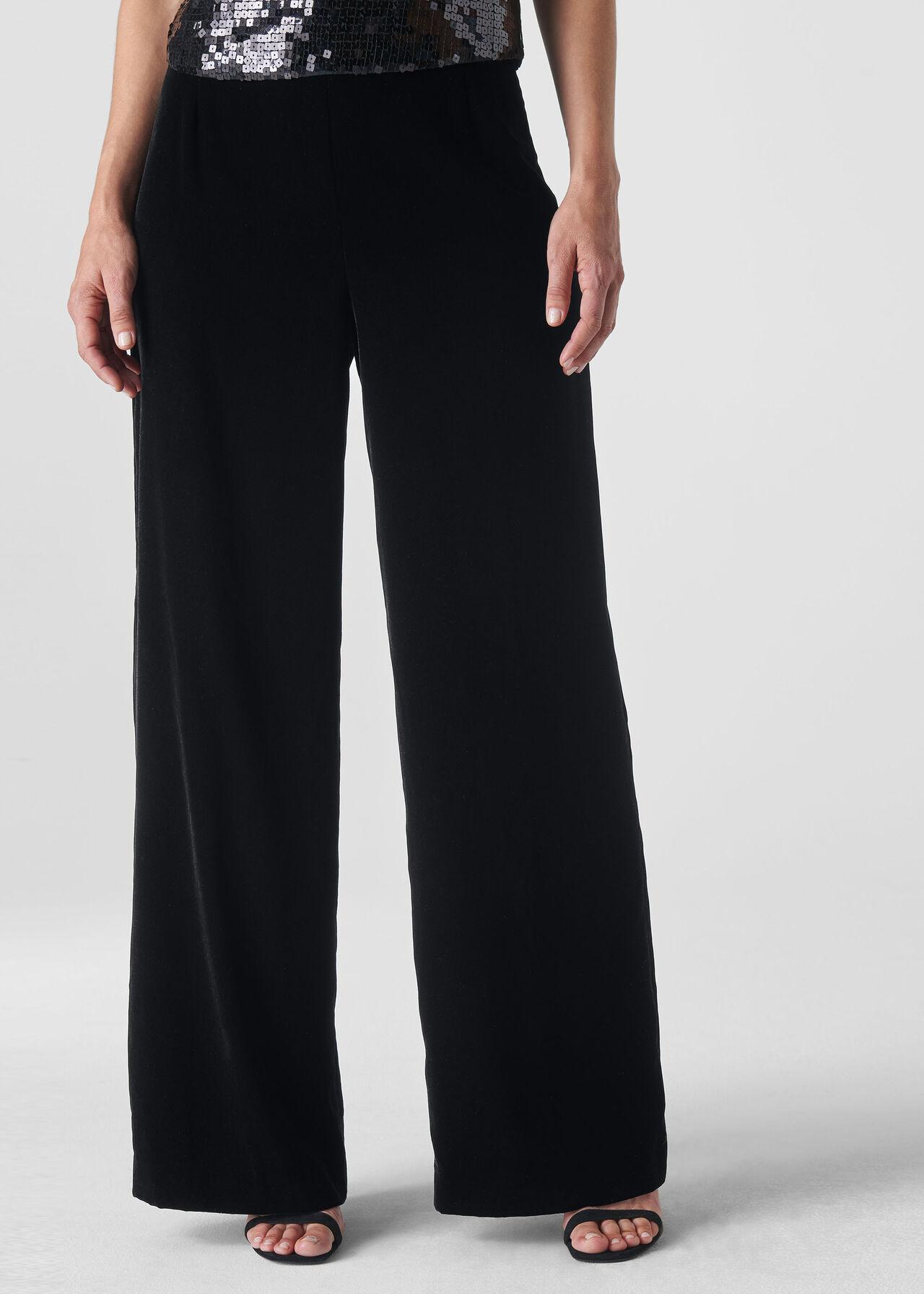 Velvet Wide Leg Trouser Black
