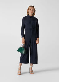 Tailored Jersey Jumpsuit Navy
