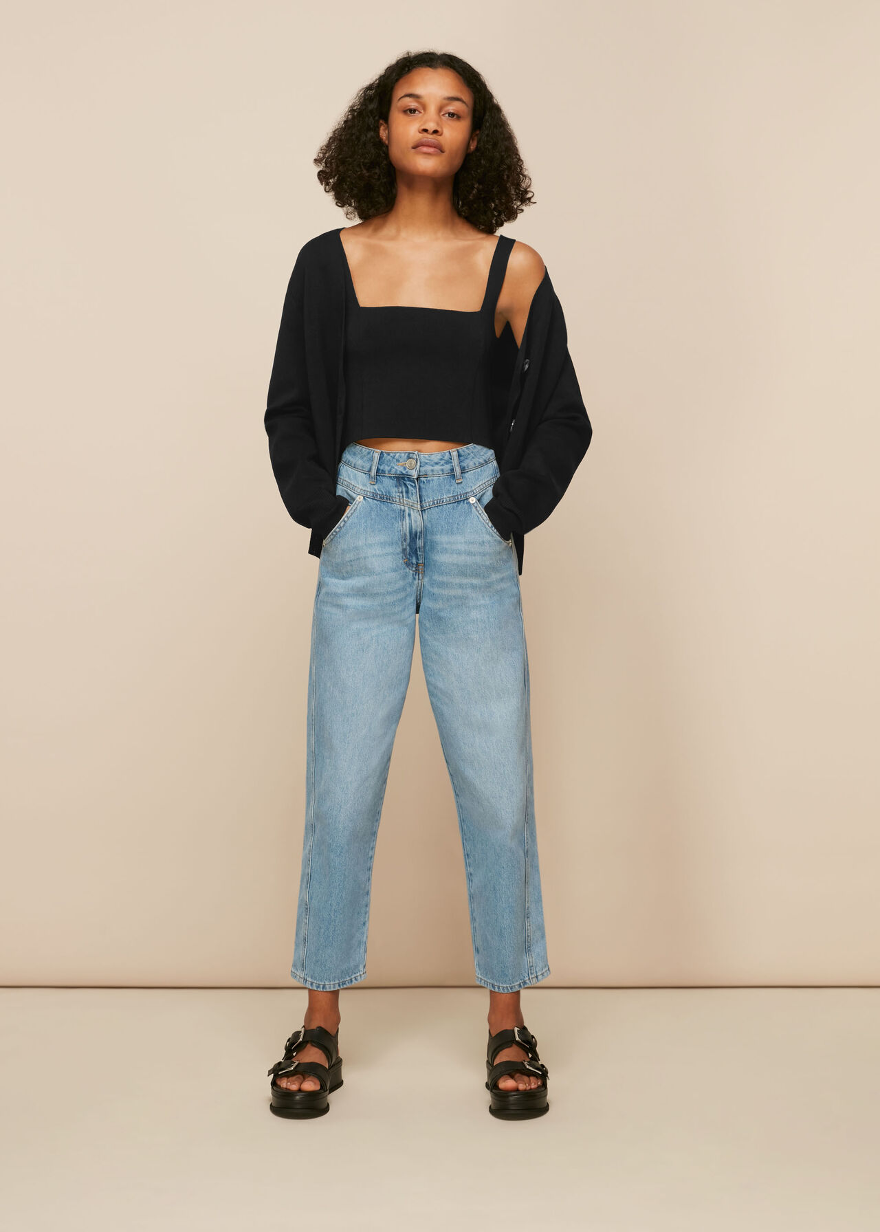 Square Neck Knit Crop Top