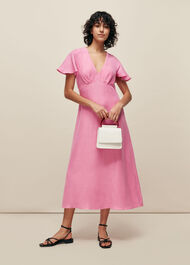 Frill Sleeve Midi Dress Pink
